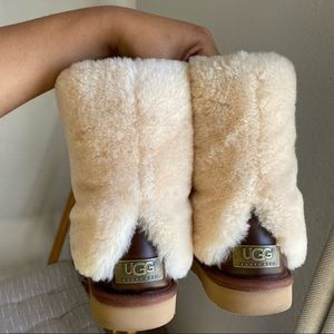 Rare UGG Marlins Brown Leather Sherpa Cuff Boots